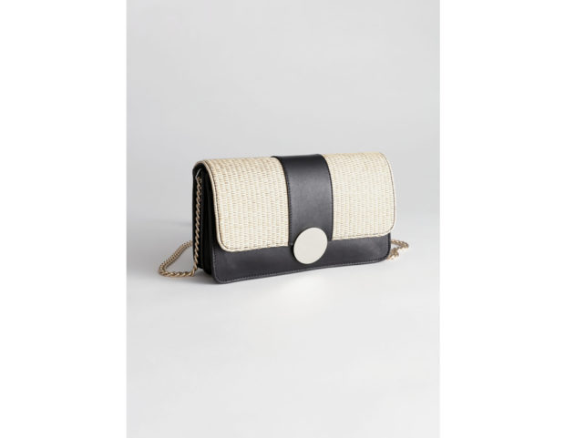 Handbag in pelle e paglia