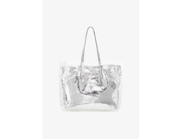 Shopper con esterno in pvc e interno in argento