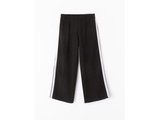 Pantalone palazzo nero con bande bianche
