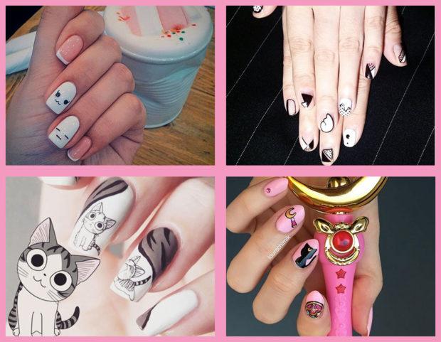 La nail art più divertente e originale? È quella in stile manga, sfoglia la gallery per scoprire le ispirazioni più belle! (Photo credits Instagram: @x1x2x2x1x, @salon.croissant, @lourschimik, @panitygryskowa, collage di Francesca Merlo)