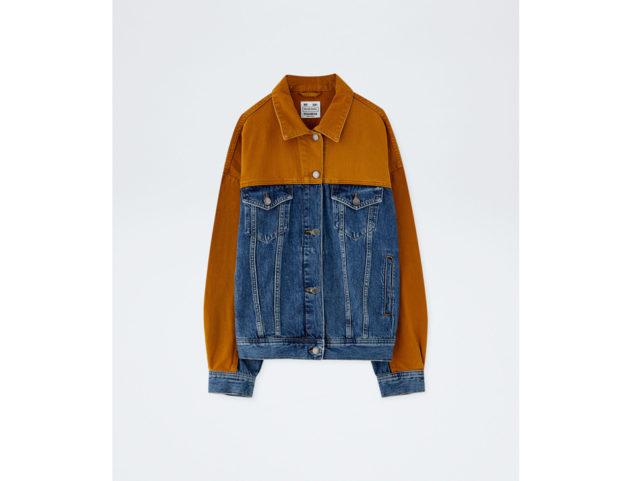 Giubbotto in jeans oversize bicolore
