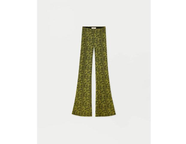 Pantaloni con stampa effetto serpente a campana
