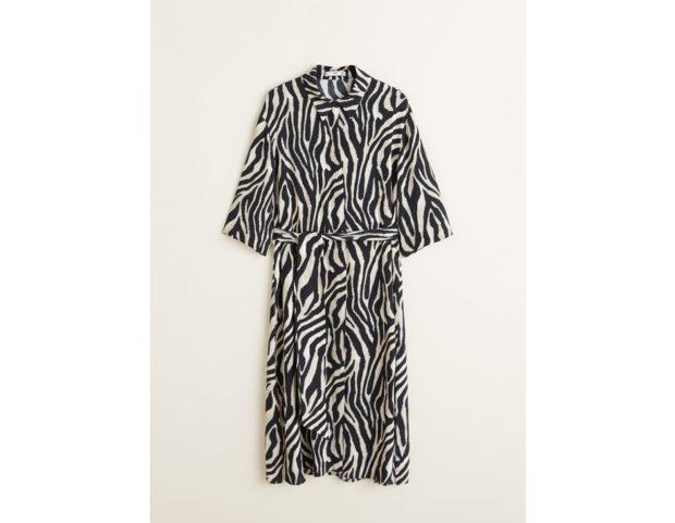 Abito stile scamiciato animal print effetto zebra
