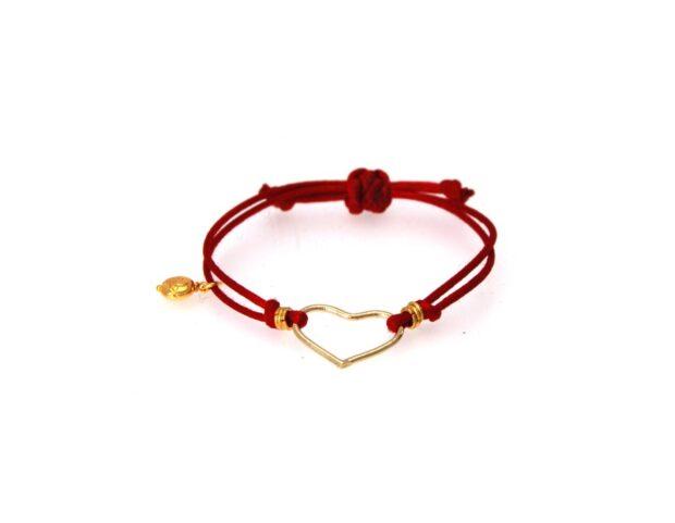 TITA' BIJOUX braccialettino cuore cordino rosso
